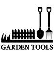 black gardening symbol with tools vector image