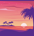 colorful background landscape of nightly beach vector image