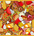 fast food seamless pattern feed ornament meat vector image