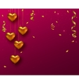 Hanging gold heart with ribbon and confetti on vector image