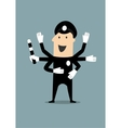 Policeman in uniform with many hands vector image