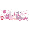set of funny cats with gifts balloons vector image