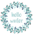 Hello winter card with pastel wreath vector image