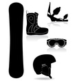 set icons equipment for snowboarding black and vector image vector image