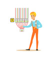 professional electrician man character checking