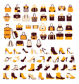 Silhouette icon set bag shoes vector image