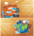 summer and travel flat banner background template vector image