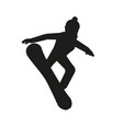 black silhouette of snowboarder vector image