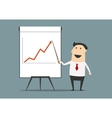 Businessman presenting financial growth on graph vector image