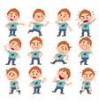 cartoon character white boy set vector image