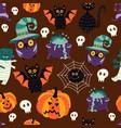 flat halloween symbols seamless pattern vector image