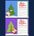 merry christmas and funny tree vector image