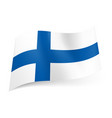 national flag of finland blue cross on white vector image