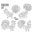 Outline set with Chinese Zodiac Rooster vector image