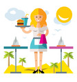 Waitress flat style colorful cartoon vector image