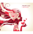 Beautiful girl silhouette with a hearts vector image vector image