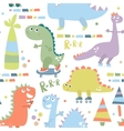Seamless pattern with dinosaur Baby background vector image