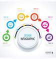business timeline infographics with 6 circles vector image vector image