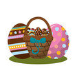 hamper with ribbon bow and eggs easter inside vector image