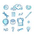 school doodle icon set vector image