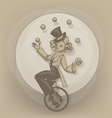 Pinup equilibrist juggling balls vector image vector image