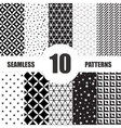 Black and White Geometric Seamless Patterns set vector image vector image