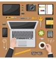 Office Desk Top View Design vector image
