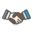 business handshake colorful line icon contract vector image