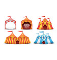 circus tent set multicolored funfair vector image