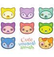 cute animals heads set vector image