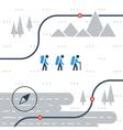 Trail flat icons nordic walking sport orienteering vector image