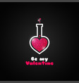 valentines day love potion logo on black vector image