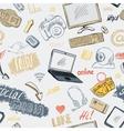 Seamless doodle social media pattern vector image