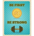 Fitness strength exercise motivation poster vector image