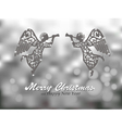 Merry Christmas silver background with angels vector image