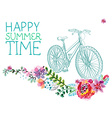 Watercolor flowers and bicycle vector image vector image