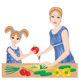 daughter helps mum vector image vector image