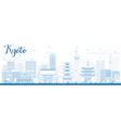 Outline kyoto skyline with blue landmarks vector