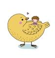 Cute cartoon baby and big bird vector image