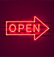 neon sign with text open arrow vector image