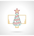 Ornate fir tree thin color line icon vector image
