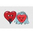 Wedding groom and bride Valentine heart vector image
