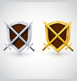 wooden shield with swords vector image