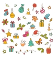 Christmas background with hand drawn icons vector image