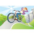 Man driving by bike from big city vector image