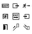 black exit icons set vector image