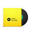 Black vintage vinyl record with blank yellow cover vector image