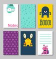 colorful funny cards set with cute monsters vector image