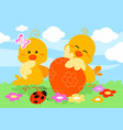 cute easter chicks and egg vector image