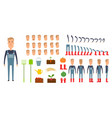 farmer character creation set icons with vector image